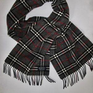Burberry Cashmere Plaid Scarf Gray Black Red Nat